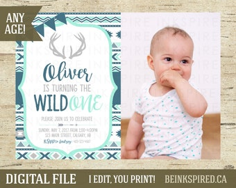 Wild One Birthday Invitation, Boy Tribal Birthday Invitation, Boy Tribal Invite, Boy Boho Invite, Boy Wild One Birthday, DIGITAL FILE, OLI