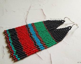 Beaded earrings, seed bead earrings, bead earrings, native beaded earrings, long beaded earrings, bead earrings, boho beaded earrings