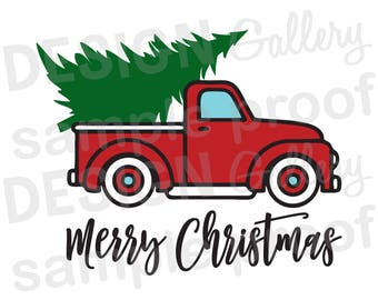 Truck Christmas Tree - SVG, DXF cut & JPG, png image files - Christmas Santa Reindeer Elves Lights - Printable Digital Iron On