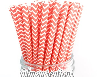 CORAL Paper Straws, 25 Coral Chevron Paper Straws, Cake Pops, Coral Weddings, Birthday Party, Coral baby shower, Diy Flags