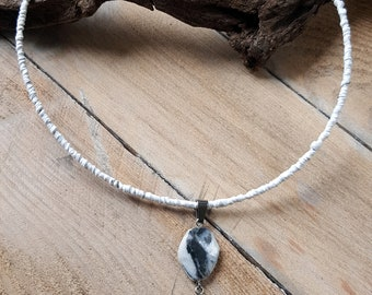 Pendant Necklace with beach pebbles polished by hand, 2 white and grey natural stones, Palm fiber and steel cable Choker