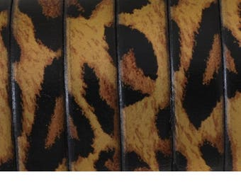 Flache Leder 1. Qualität drucken Leopard (10x1.6mm) - schwarz, gold und Kupfer Metall - 50 cm