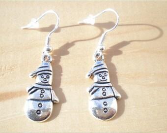 Snowman Earrings, Christmas Earrings, Holiday Earrings, Charm Earrings, Jewelry Findings