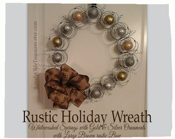 Handmade Metal Door Wreath- Gold & Silver Year Round Decor- Bed Spring Wreath- Farmhouse Decor- Rustic Charm- Country Primitive Home Decor