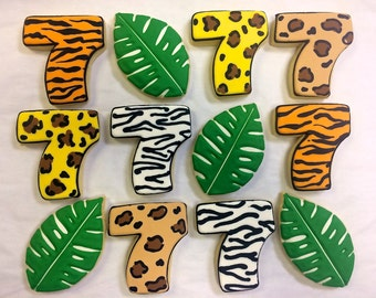 Jungle Themed Party Favor Cookies for Birthdays, Animal Print Cookie Favors, Jungle Theme Cookies, Animal Themed Cookies for Birthdays