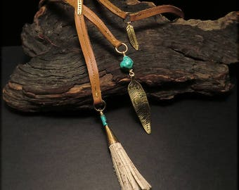 N1576 Saddle Tan/Brown Leather Lariat Y Necklace- Brass and Turquoise