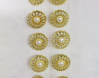 """12 Buttons, 3/4"""" Small, Round, White, Gold Setting, Lightweight, 100% Acrylic"""