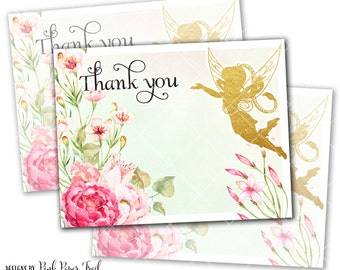 Flower Fairy Thank You Card, Flower Garden, Pink Blush, Instant Download, Print Your Own