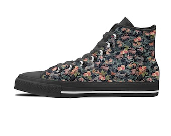 Custom converse style sneakers, Hi top Sneakers, Black sole sneakers, Women tennis shoes, Sneakers shoes, Floral print shoes, Gift for her