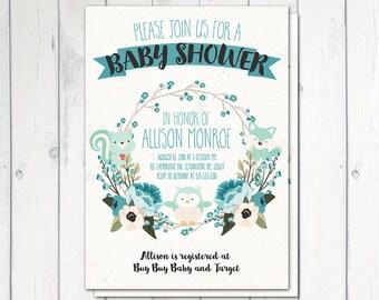 Baby Shower Invitation, Woodland Baby Shower, Blue Woodland, Floral Wreath, Baby Shower Boy, Woodland Animals, Spring, Printable No. 1009