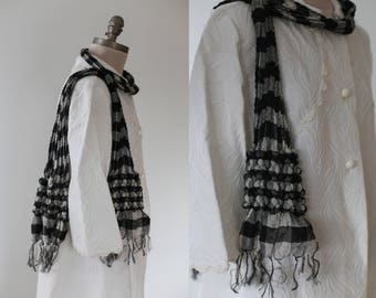 Vintage black and white gingham scarf / Gift for Her