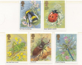 1985 Insects Mint Vintage Postage Stamp Set; bumblebee, Bombus, ladybird, grasshopper, cricket, stag beetle, dragonfly, wildlife, MNH,unused
