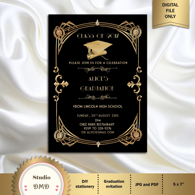 Great Gatsby Style Art Deco Graduation Invitation Graduation