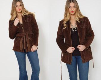 Vintage 70s SUEDE Jacket BELTED Leather Jacket BOHO Jacket Brown Suede Hippie Jacket
