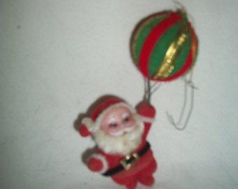 Vintage Mid Century Flocked Santa Ornament