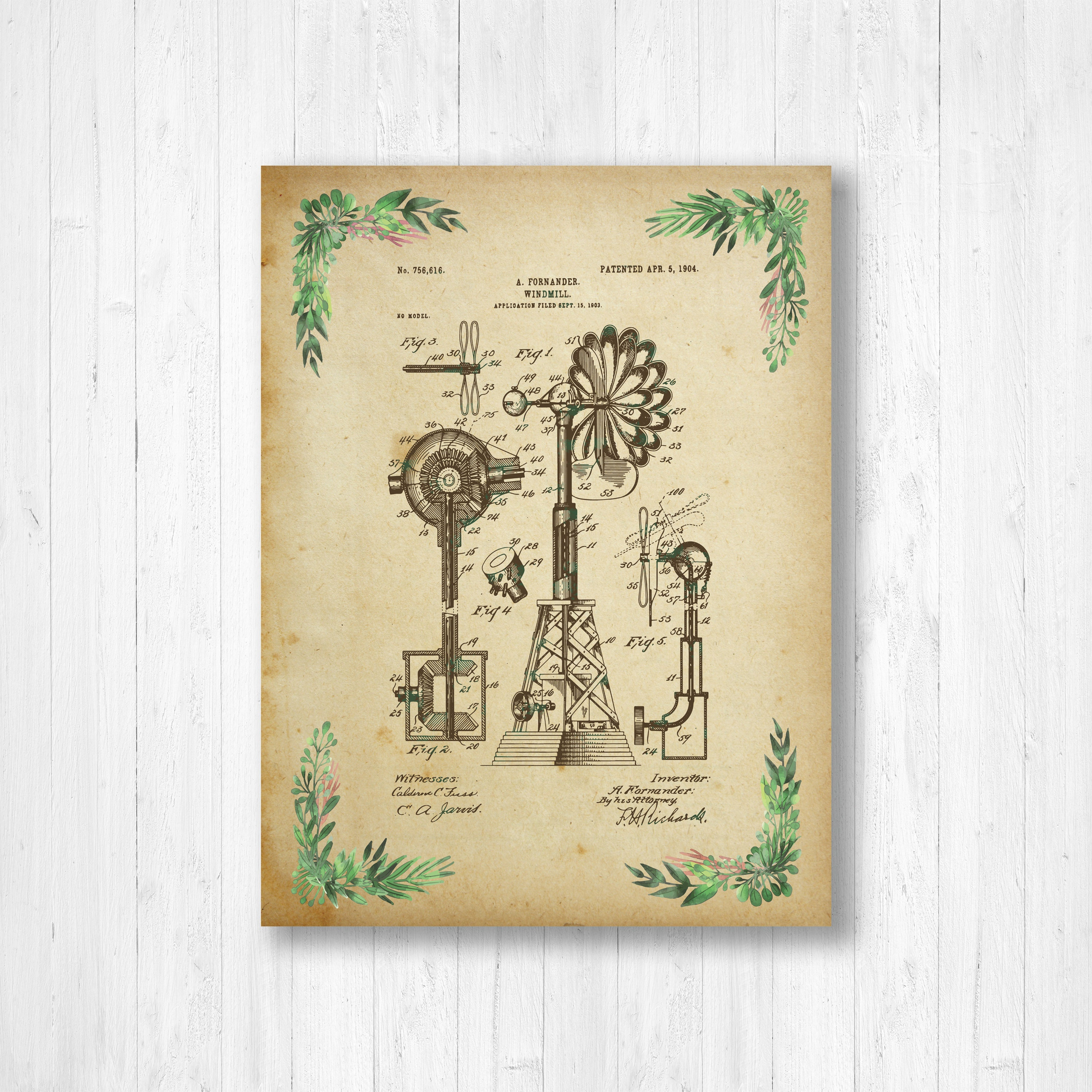 Windmill, Patent, Floral Patent, Invention, Watercolor, Windmill ...