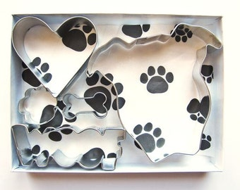 Pit Bull Natural Ears Woof Cookie Cutter Set - Five Piece Pitbull, Pittie, Dog