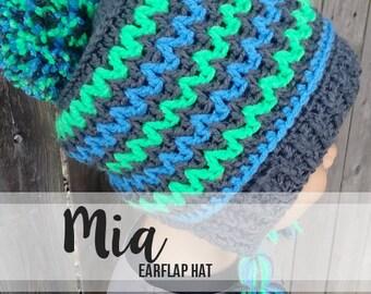 Crochet Pattern // Mia Earflap Hat // Easy
