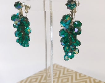 Vintage Green Iridescent Beads Cha Cha Dangle 70's Earrings-RARE