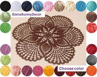 "Crochet doily 16""-Crochet doilies-pink doily-brown doily-white doily-Round doily -Home decor-Brown crochet doily-Handmade tablecloth-napkin"