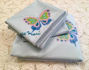 SALE Butterfly Bedding - Full Flat Sheet - Pillowcases - Blue Butterfly Standard Cases - Soft - Martex - 1970s Butterflies - Mori - Blue Col