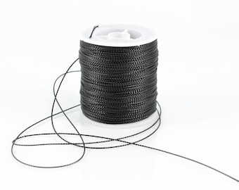 1mm BLACK METALLIC STRING - Black Metallic String Cord (1mm diameter) sold by 5m length