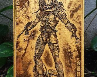 Predator Customized Birthday Gift for Men, Alien vs Predator, Wood Engraved Predator Poster, Personalized Gifts for Him, Man Cave Decor