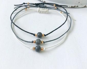 Minimalist Ceramic Bead Bracelet, Minimalist Ceramic Bracelet, Boho Jewelry for Girlfriend, Thread Bracelet for Women