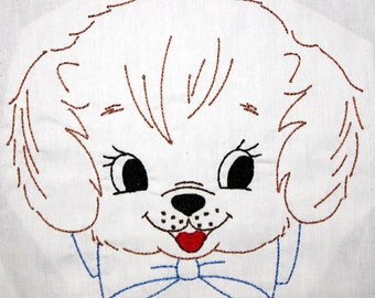 Puppy Dog Face with Bow for Bib, etc Machine Embroidery Design 6x10 or 4x4 hoop, vintage colorwork linework, baby, child, boy, girl, toddler