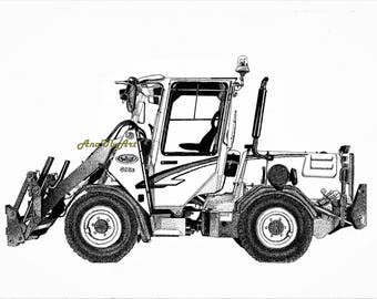 WILLE 455B Tool Carrier. Isograph ink illustration.Drawing. Print. Wall art. Home Decor. Technical multi machine.