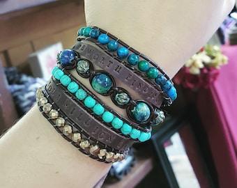 Double wrap leather and gemstone bracelet
