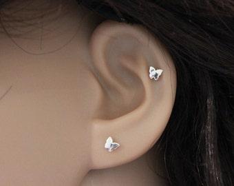 Tiny butterfly cartilage earring,  tragus earring, nose stud, cartilage stud earrings, silver cartilage earring, pierced, one earring