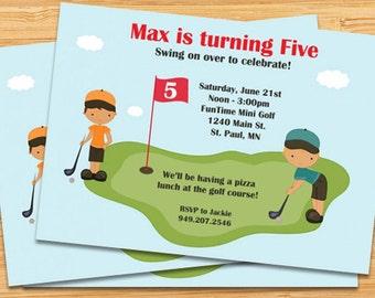 Miniature Golf Birthday Party Invitation - Boys