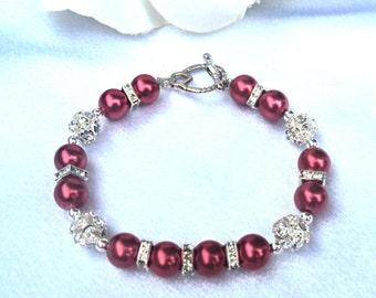 Womens Red Swarovski Pearl Bracelet - CUSTOM SIZING AVAILABLE