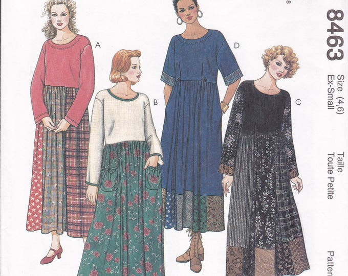 Free Us Ship McCalls 8463 Sewing Pattern Loose Fitting High Waist Pullon Dress Size 4/6 8/10  Bust 29 30 31 32 Uncut Retro 1990s 90's