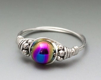 Rainbow Magnetic Hematite Bali Sterling Silver Wire Wrapped Bead Ring - Made to Order, Ships Fast!