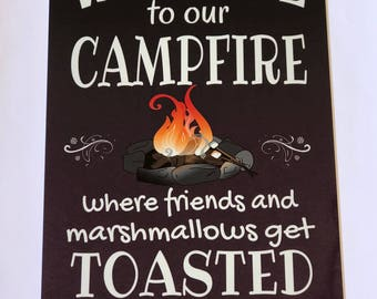 Welcome To Our Campfire Metal Sign - Home Decor -Camping Sign - Outdoor Sign- Cabin Decor - Wall Sign - Gift