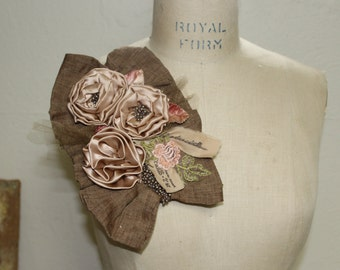 Fabric Flower Pin, Corsage Pin
