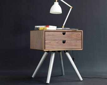 Mid Century Modern Nightstand in solid walnut with two drawers and aluminium legs