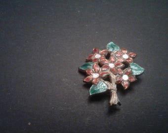 Art Deco Hollywood Regency Cloisonne Floral Brooch