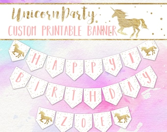Customized Unicorn Party Banner, Printable Unicorn Birthday Banner, Customized Unicorn Happy Birthday Banner, PDF Digital File