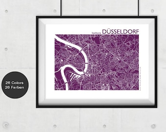 DÜSSELDORF City Map, Düsseldorf Travel Map, Modern Wall Art, Düsseldorf Street Map, Düsseldorf Print, Custom City Map, Office Decor,souvenir