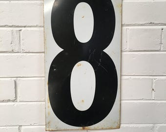 Vintage Two Sided Enamel Number 8 and 9 Sign From An American Gas Station, House Number, Lucky Number, Favourite Number, Birthday