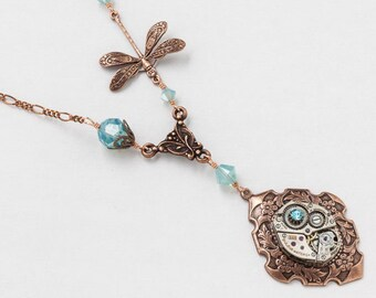 Steampunk Necklace Vintage silver watch movement with blue opal Swarovski crystal and copper dragonfly pendant, flower & leaf jewelry Gift