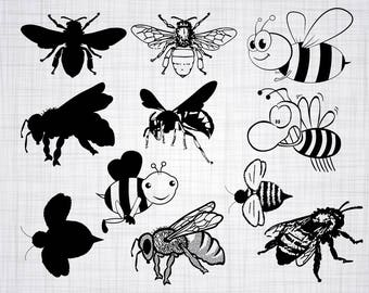 Bee SVG Bundle, Bee SVG, Bee Clipart, Bee Cut Files For Silhouette, Files for Cricut, Bee Vector, Bumblebee Svg, Dxf, Png, Eps, Bee Decal