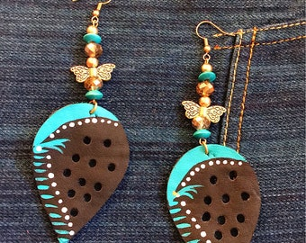 Boho chic leather dangle earrings
