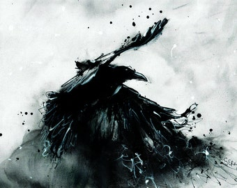 Crow art - Giclee print on matte canvas - 8x12in A4 - rolled canvas - abstract raven