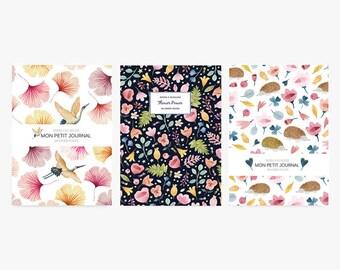Set of 3 notebooks, journal, diary, notes,flowers, ginkgo, hedgehog, stationery, set of 3 notebooks, vintage pattern, notebook
