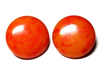 Vintage Bakelite Earrings -  Orange and Red Swirl