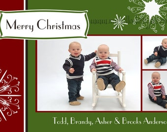 Holiday Card:  Snowflakes & Banner